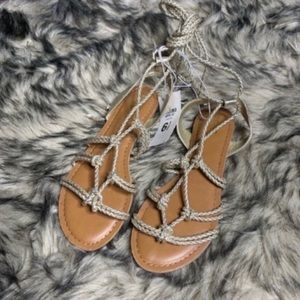 Mossimo Target Gold Lace Up Sandals Gladiator